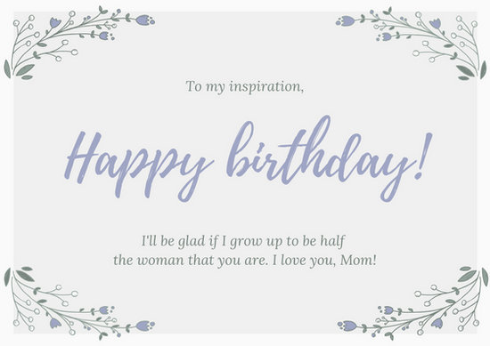 White and Lavender Mom Birthday Card - Templates by Canva - template for a birthday card