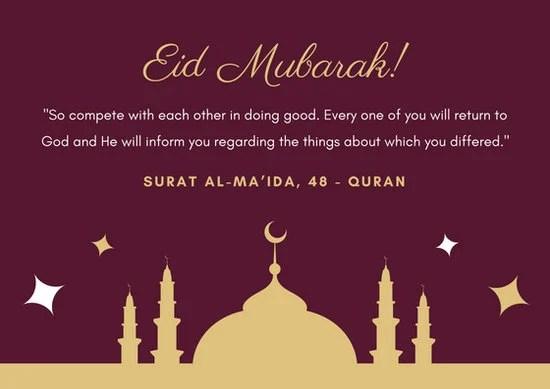 Maroon Gold Elegant Mosque Simple Eid al-Fitr Card - Templates by Canva