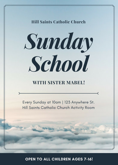 Blue and White Sky Photo Church Anniversary Flyer - Templates by Canva - anniversary flyer