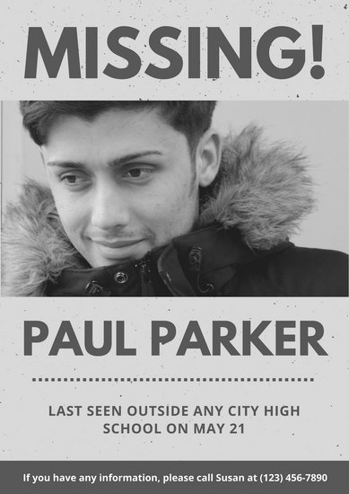 Black and White Grungy Photo Person Missing Poster - Templates by Canva - missing poster template