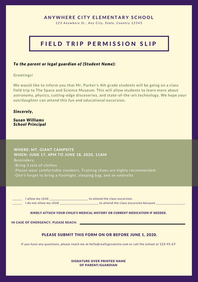 Customize 25+ Permission Slip Letter templates online - Canva