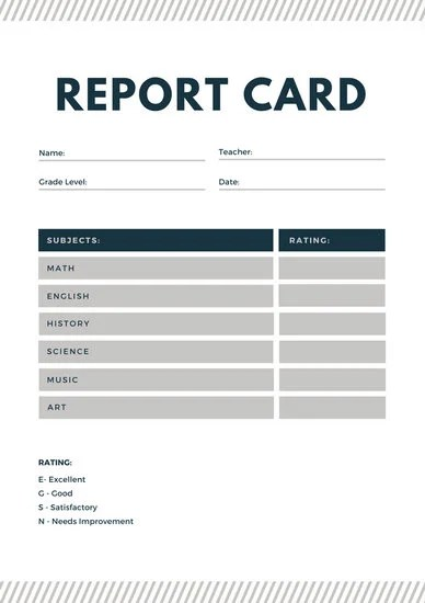 Blue and Gray Lines Homeschool Report Card - Templates by Canva - homeschool report card template
