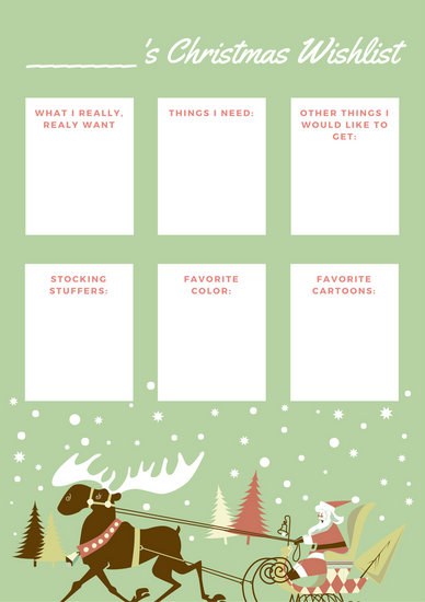 Green with Santa and Reindeer Christmas Wish List - Templates by Canva - christmas wish list templates