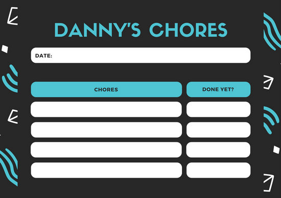 Black and Blue Patterned Teenagers Chore Chart - Templates by Canva