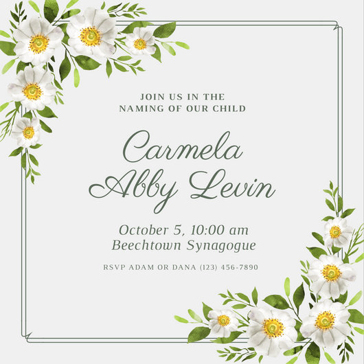 White Floral Border Baby Naming Ceremony Invitation - Templates by Canva