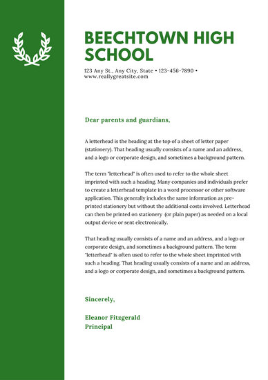 Green Laurel Welcome letter to parents School Letters - Templates by