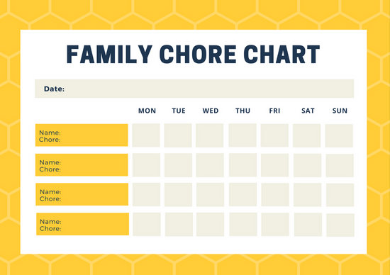 Yellow Beehive Pattern Family Chore Chart - Templates by Canva