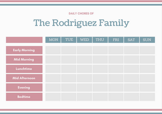 Green Red Daily Chore Chart - Templates by Canva - daily chore