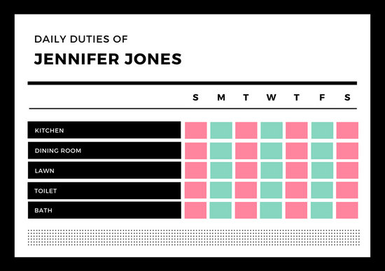 Black  White Colorful Boxes Teenager Chore Chart - Templates by Canva