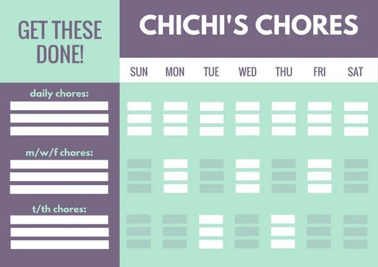 Mint and Violet Color Blocks Teenager Chore Chart - Templates by Canva - color chart template