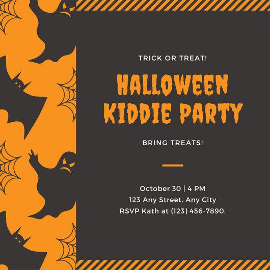 Halloween Invitation Template Orange And Brown Kids Party - halloween invitation template