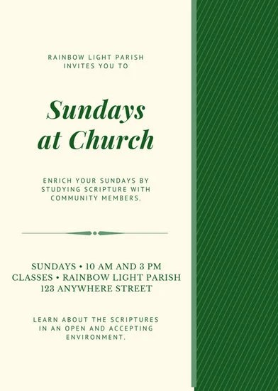 Emerald Green and Cream Sunday School Church Flyer - Templates by Canva - emerald flyer template
