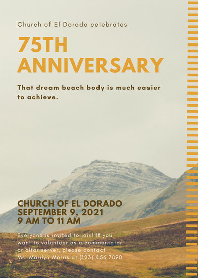 Mustard Yellow and Brown Church Anniversary Flyer - Templates by Canva - anniversary flyer