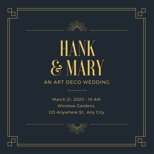 Gold Art Deco Wedding Invitation - Templates by Canva