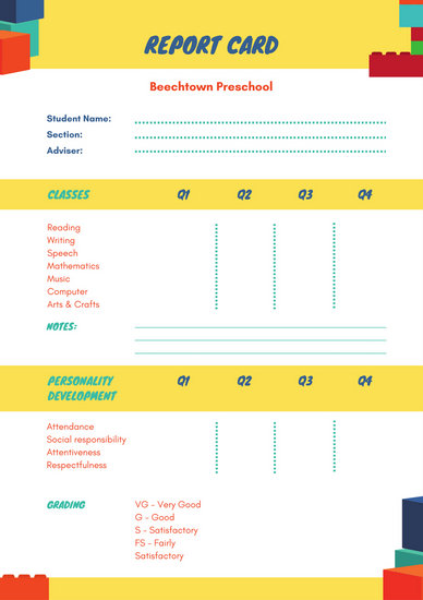 Customize 10,019+ Report Card templates online - Canva - blank report card printable free