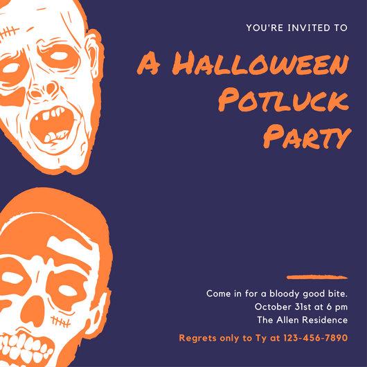 Halloween Potluck Invitation Templates \u2013 orderecigsjuiceinfo - halloween invitation template