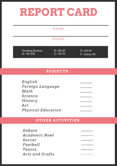 Pink and Gray Simple Homeschool Report Card - Templates by Canva - homeschool report card template