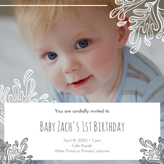White Grey Boy Son 1st Birthday Invitation - Templates by Canva