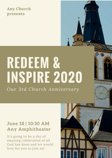 Cream and Olive Green Photos Church Anniversary Flyer - Templates by