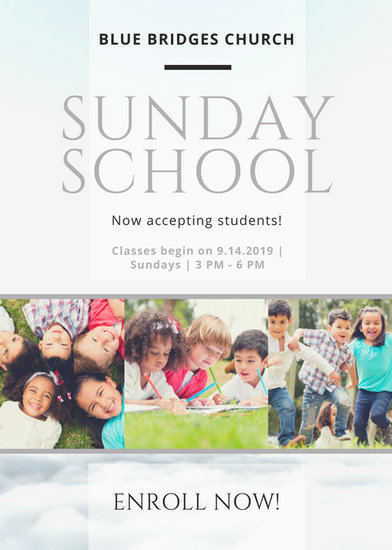 White and Silver Elegant Photo Collage Sunday School Church Flyer