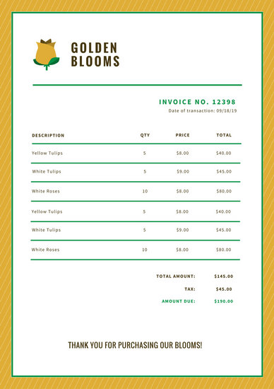 White Flower Shop Business Invoice - Templates by Canva - shop invoice