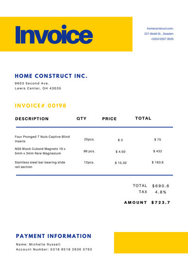 Blue and Yellow Business Invoice - Templates by Canva