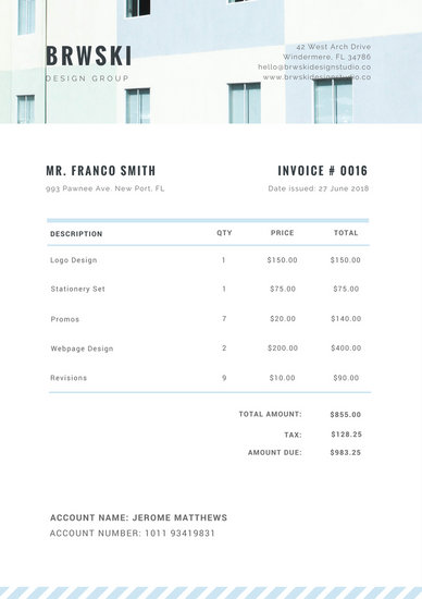 White Blue Header Service Invoice - Templates by Canva