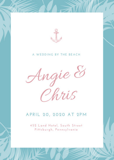 Customize 104+ Beach Wedding Invitation templates online - Canva