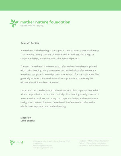 Green Nature Charity Letterhead - Templates by Canva