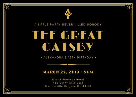 Black And Gold Art Deco Birthday Great Gatsby Invitation
