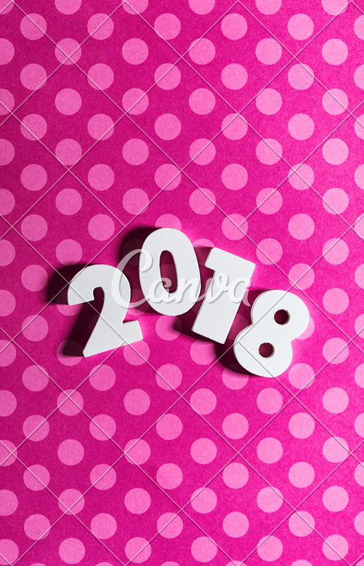 New Year 2018 on Pink Polka Dot Background with Copyspace - Photos