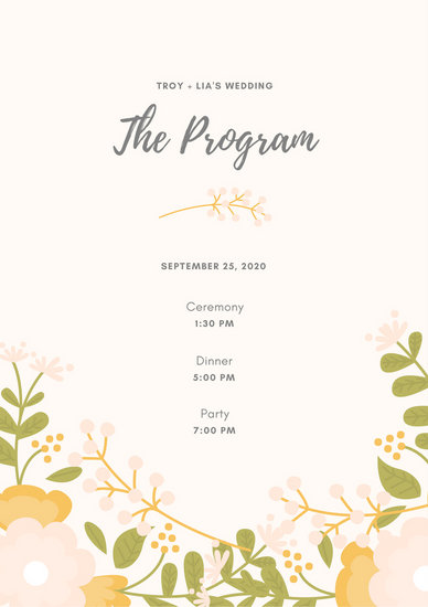 Customize 66+ Wedding Program templates online - Canva - wedding program
