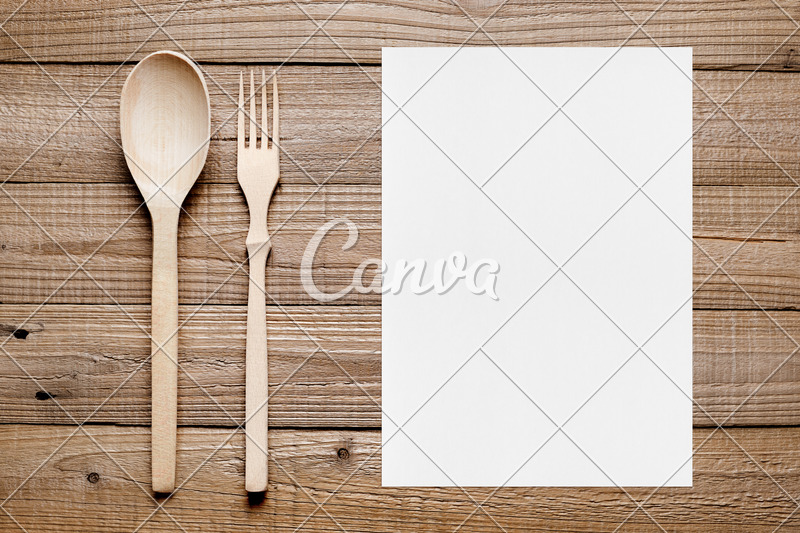 Blank Menu and Wooden Fork and Spoon - Photos by Canva