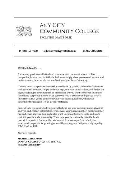 Black White Simple Welcome Letter to Students - Templates by Canva