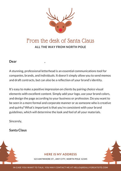 Brown Reindeer Icon Letter from Santa - Templates by Canva