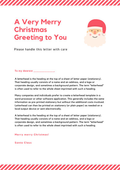 Simple Modern Red Lines Santa Letter - Templates by Canva