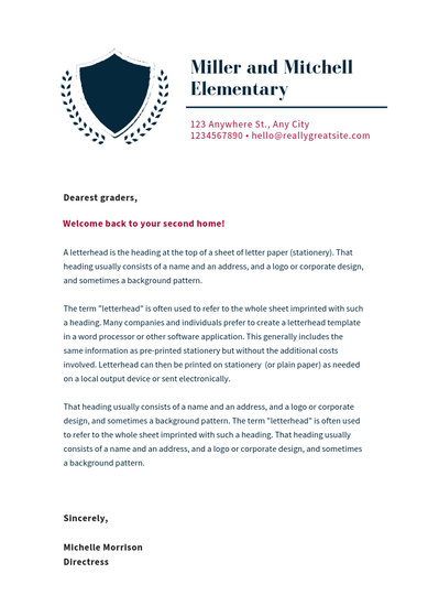 Blue and Red Welcome Letter to Parents School Letterhead - Templates