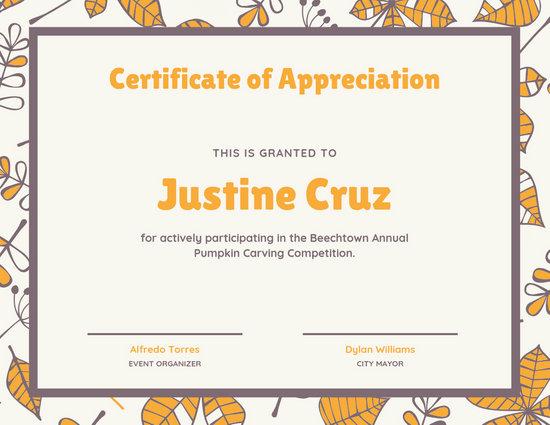 Beige Autumn Appreciation Certificate - Templates by Canva
