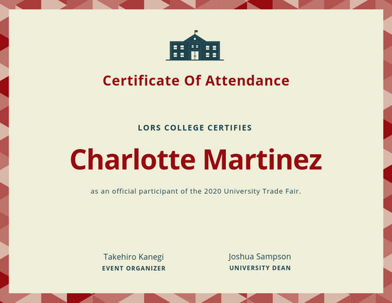 image relating to Perfect Attendance Certificate Printable referred to as Customise 23+ Attendance Certification Templates On line