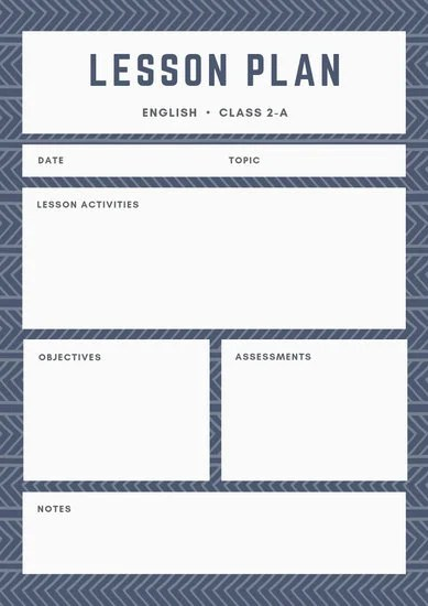 Blue Pattern English Lesson Plan - Templates by Canva