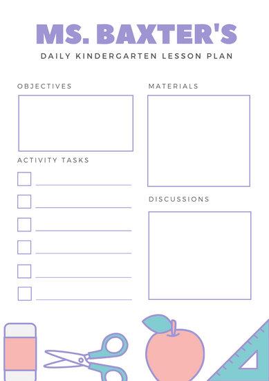 Pastel Cute School Materials Graphics Kindergarten Lesson Plan