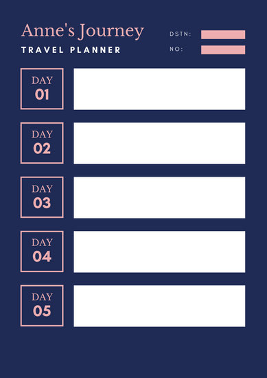 travel itinerary planner template