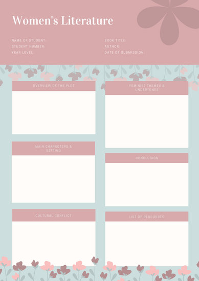 Pink Cute Floral College Book Report - Templates by Canva