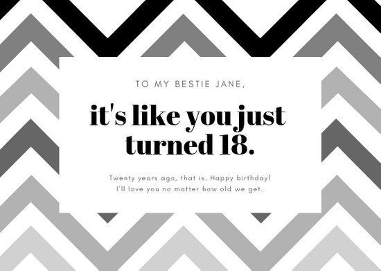 Black and White Zigzag Modern Chic Funny Birthday Card - Templates