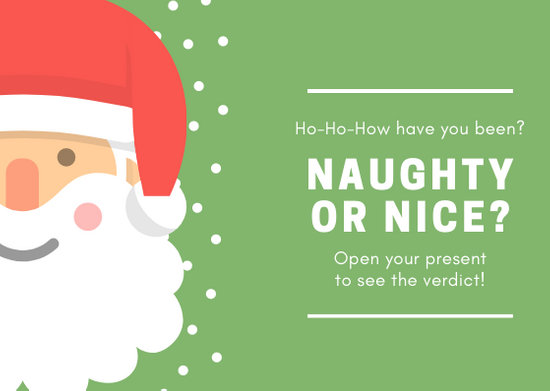 Green with Santa Naughty or Nice Christmas Card - Templates by Canva