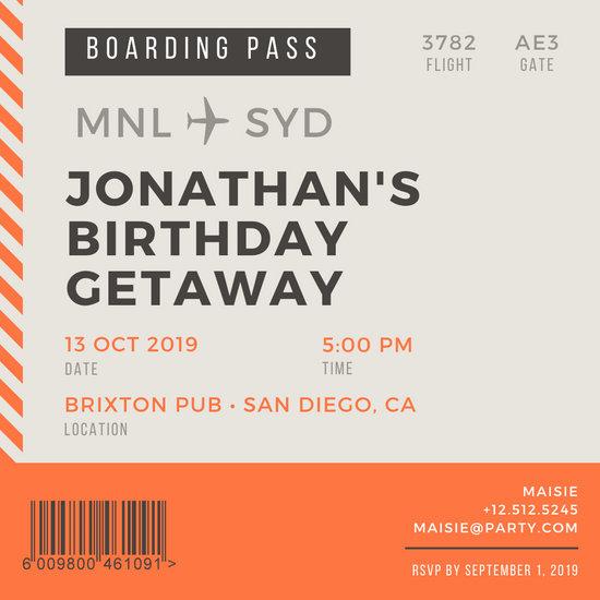 Customize 77+ Boarding Pass Invitation templates online - Canva