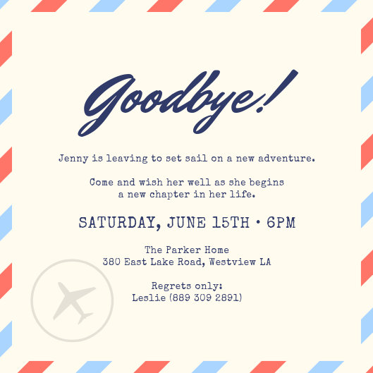 Blue and Red Stripes Mail Farewell Party Invitation - Templates by Canva