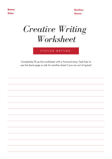 Red Lines Frame Fiction Writing Prompt Worksheet - Templates by Canva