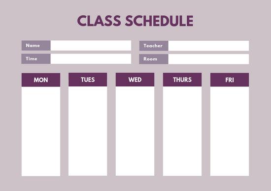 Customize 404+ Class Schedule templates online - Canva