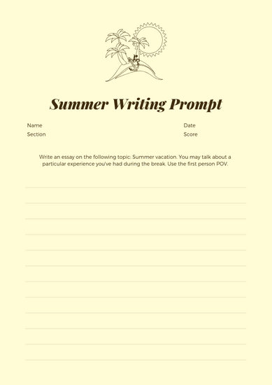 Cream Brown Summer Essay Writing Prompt Worksheet - Templates by Canva